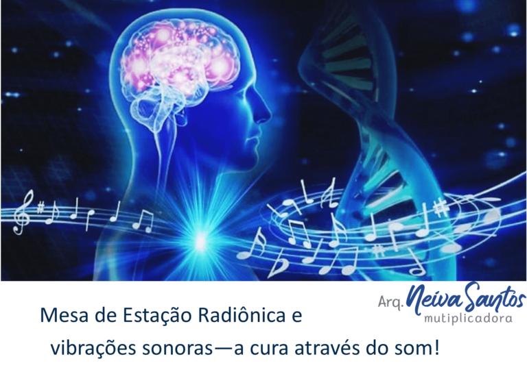 Mesa de estação radiônica e vibrações sonoras a cura através do som